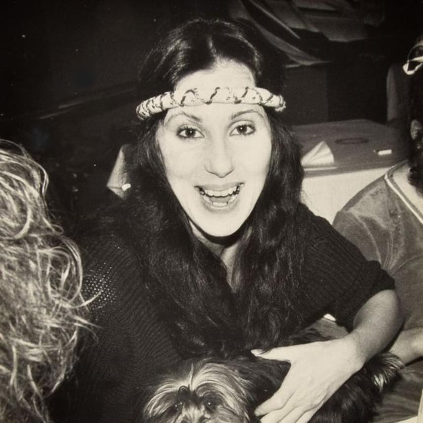 Cher is gyakran benézett a Studio 54-be, ahová a felvétel tanúsága szerint még a kiskutyáját is magával vitte, és remekül szórakozott.