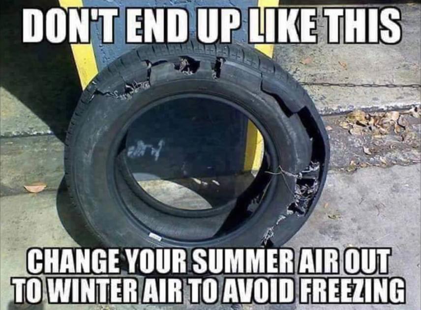 Ne végezd úgy, mint a képen látható gumi tulajdonosa! Az évszakváltáskor engedd le a kerékből a nyári levegőt, és töltsd fel télivel, hogy elkerüld a fagyást!