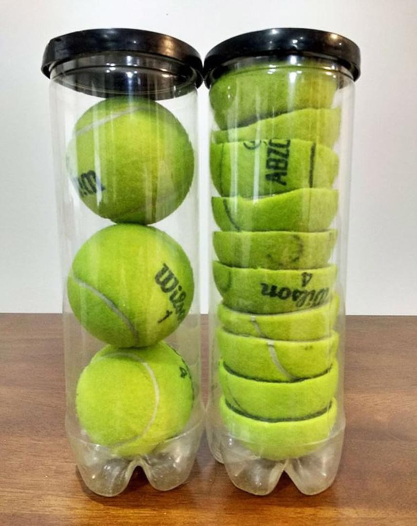 Helytakarékosság céljából vágd félbe a teniszlabdákat, így plusz két labda befér a dobozba!