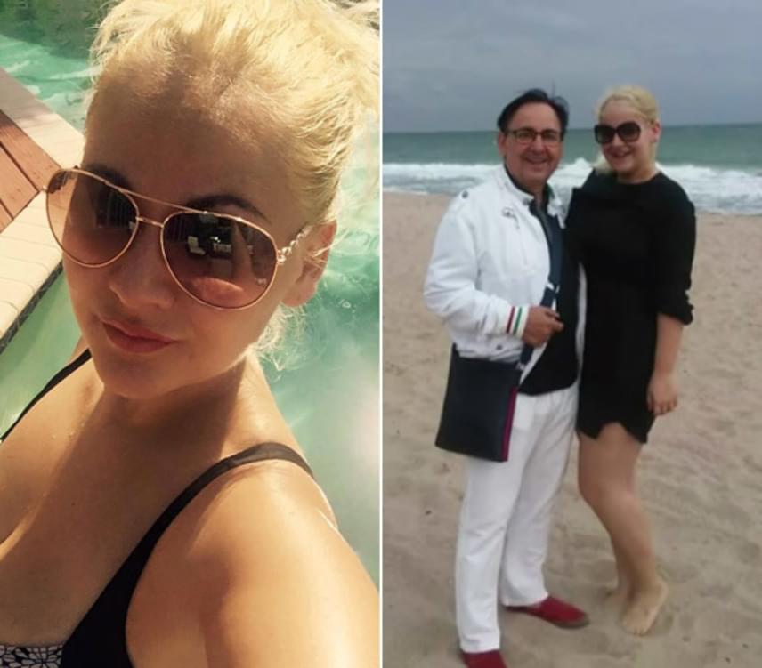 Egy szelfi a medence partjáról és egy apa-lánya fotó Miami tengerpartjáról - Fásy Zsüliett nagyon élvezte az amerikai útját.