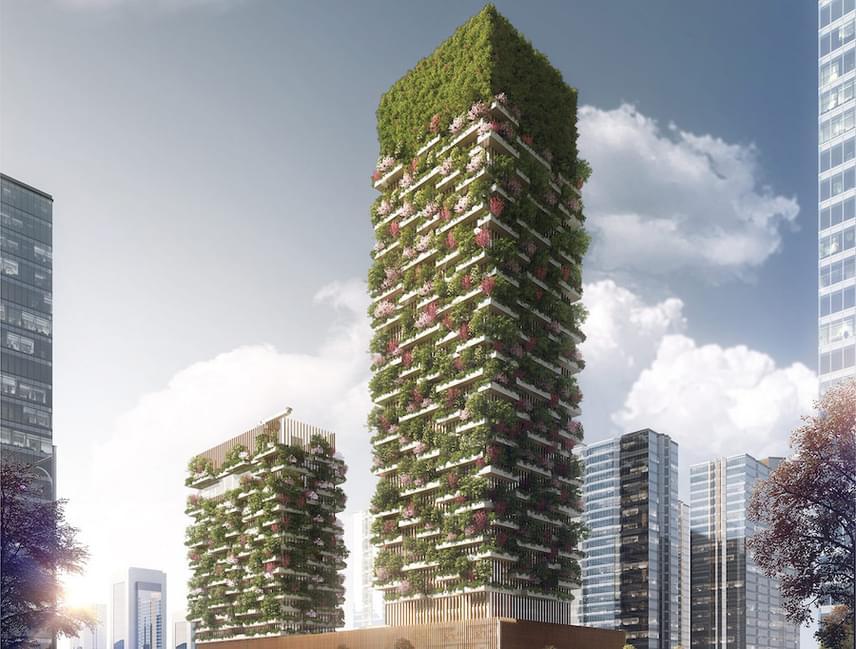 A helyi biodiverzitás helyreállítása éppilyen fontosságot kap a szokatlan irányba tervezett zöldterületnél. 23 helyi fafajtát használnának fel, melyek napról napra nagy mennyiségű szén-dioxidot tudnak hatékonyan megkötni. A magasabb felhőkarcolóban lesz múzeum, irodák és még iskola is, míg az alacsonyabban éttermek, konferenciaterem és szálloda.