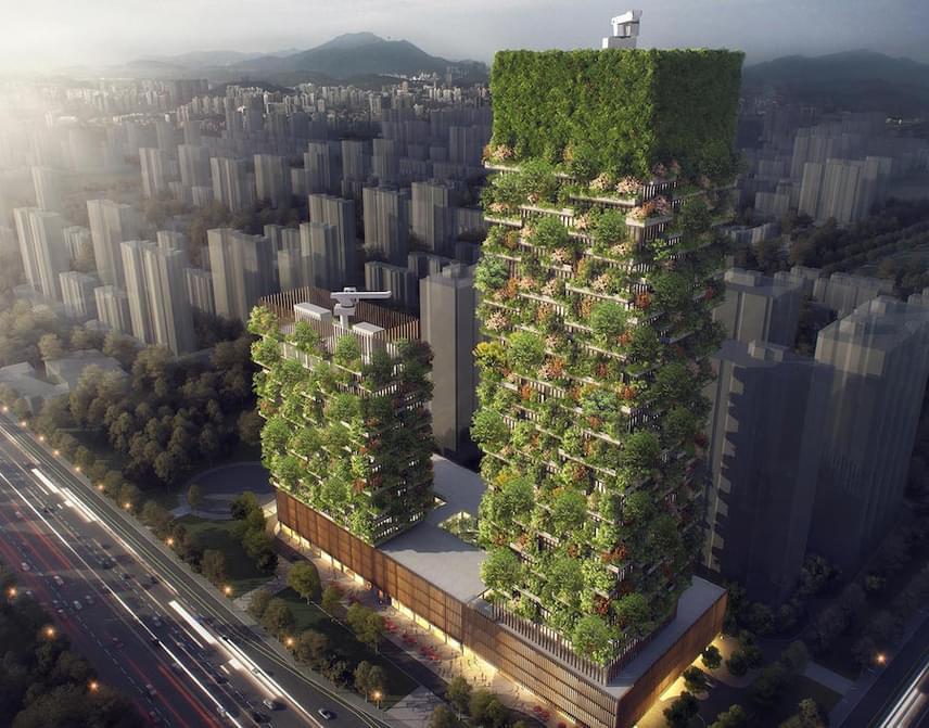 Nem mindennapi látványban lehet része 2018-ra a kelet-kínai metropoliszba érkezőknek. Ekkorra épül meg egymás mellett a majdnem 200 méter és a 107 méter magas felhőkarcoló, amely minden évszakban más és más színben fog pompázni.