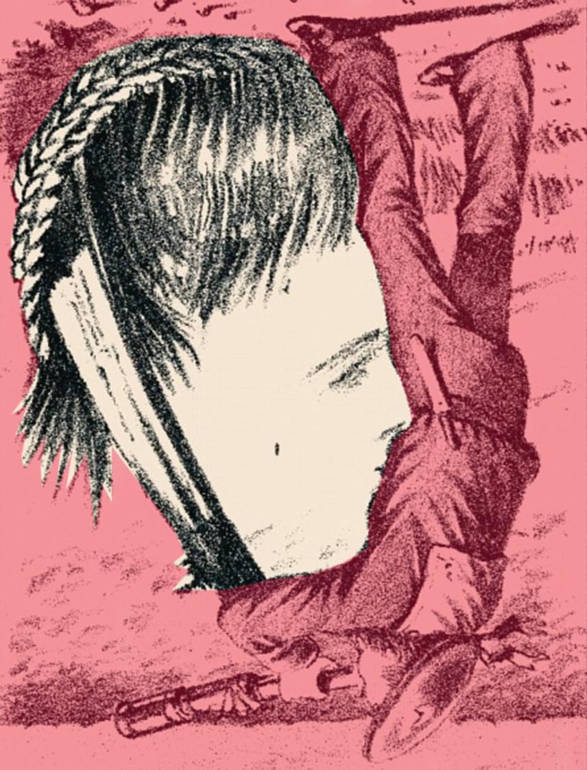 Boglárka arca a matróz karja és lába közötti részen, fejjel lefelé található.