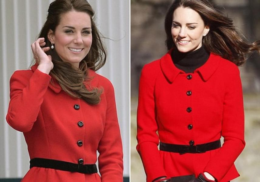 A hercegné korábban már kétszer is viselte ezt a csinos kabátruhát: 2011-ben, amikor látogatást tettek a St Andrews-i Egyetemen és 2014-ben, új-zélandi útjukon.