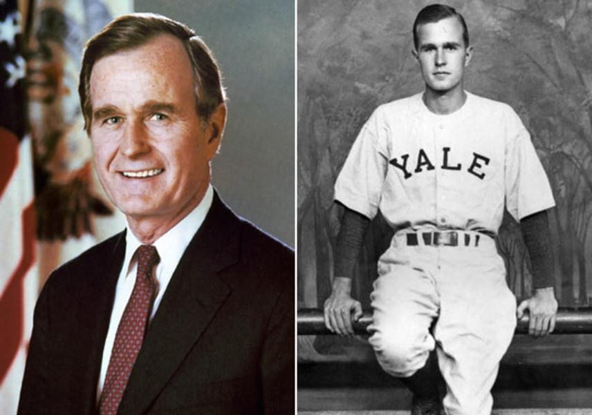 George H. W. Bush igazán jóképű férfi volt annak idején - a Yale Egyetemen imádták a lányok a kisfiús sármja és szép szemei miatt.