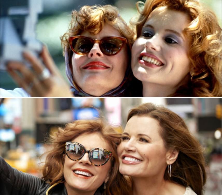A felső kép a Thelma és Louise egyik ikonikus jelenete, az alsó képen pedig a két színésznő 25 évvel később ugyanúgy bújt össze, mint a kultuszfilm idején. Az idő múlása nem igazán fogott ki rajtuk.