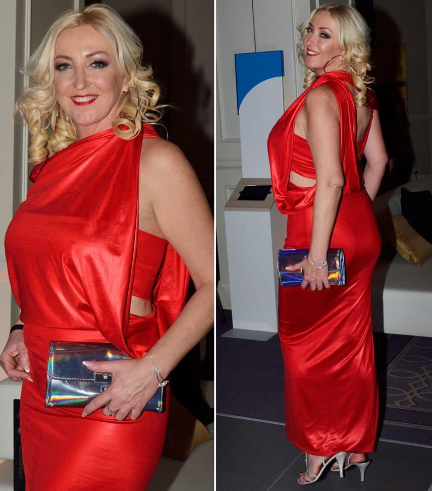 Kandász AndreaA TV2 műsorvezetője a Madleine Couture tervezőjének, Ruzsa Magdolnának ezt a tűzpiros ruhájában vett részt az esten.