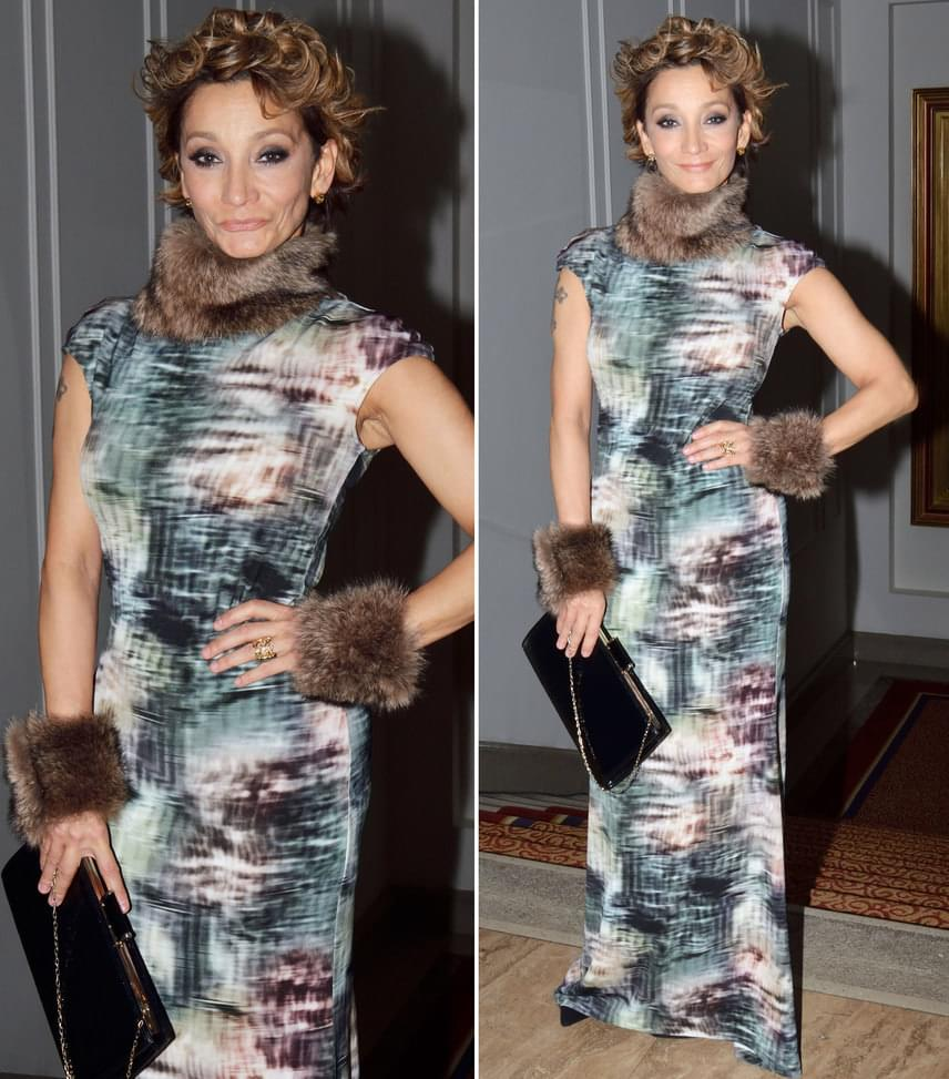 Keresztes IldikóAz énekesnő nőiesen vagány batikolt, szőrmével díszített ruháját Fink Evelin tervezte.