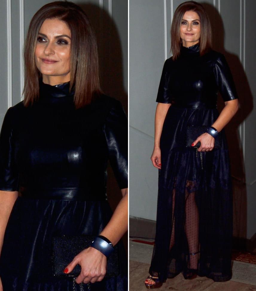 Varga Izabella  A Barátok közt színésznője nagyon dögös volt ebben a bőr és csipke kombinációjából készült Szivek Tímea összeállításban.