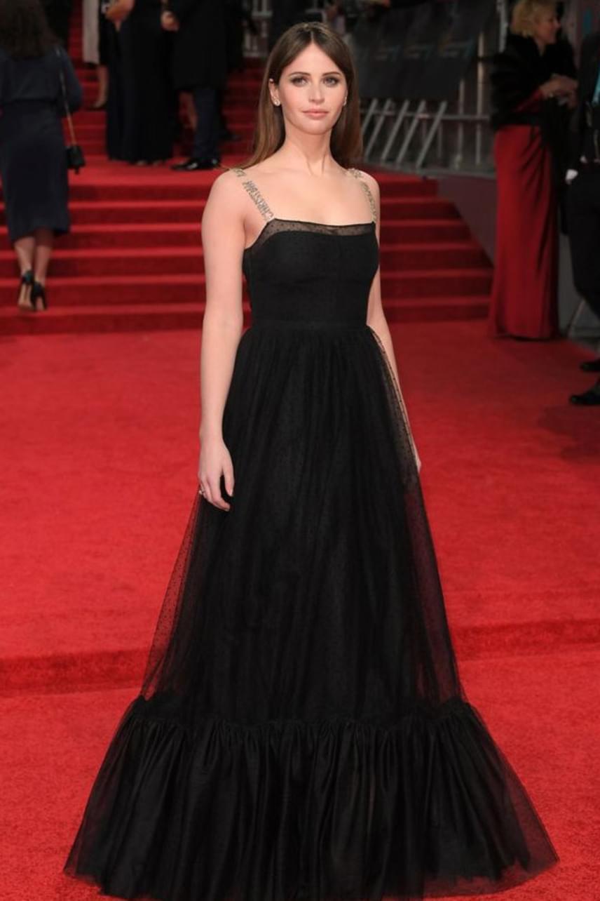 A legújabb Star Wars-adaptáció, a Zsivány Egyes főszereplője, Felicity Jones egy Christian Dior ruhában érkezett a vörös szőnyegre.