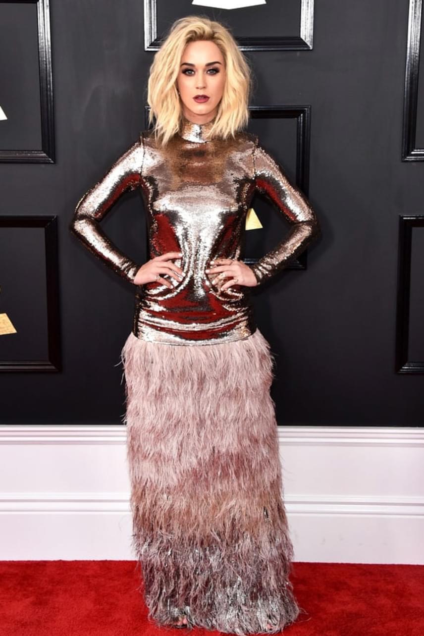 Katy Perry ruhája szintén megosztóra sikerült: amíg a felsőrészt imádták, a tollas-szőrős szoknyarésszel nem voltak elégedettek a követői.