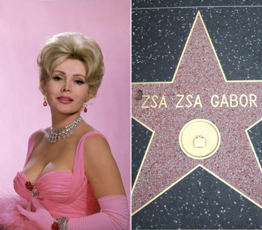 Gábor Zsazsa nemcsak saját csillagot kapott a hollywoodi Hírességek sétányán, hanem 1958-ban egy Golden Globe-díjat is átvehetett. Az 1917-ben eredetileg Gábor Sári néven született színésznő 1941-ben ment Hollywoodba, ahol nemcsak mozgóképes munkáival, hanem szépségével, magánéletével és botrányaival is hamar hírnevet szerzett magának. Gábor Zsazsa 2016-ban hunyt el szívrohamban, 99 éves korában.