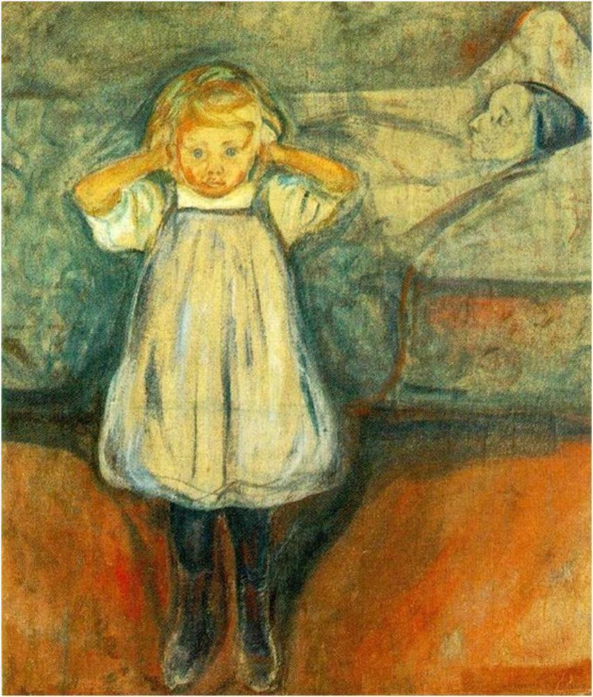 A halott anya                         Munch festménye már ránézésre sem a legvidámabb, hiszen témájában egy családtag elvesztését dolgozza fel. A kép körül zajló események azonban tovább fokozzák a kép kapcsán jelentkező negatív érzelmeket: akik a kép közelében tartózkodtak, úgy érezték, a kislány szeme mindenhová követi őket a szobában, és egyesek a haldokló anya ágyneműjének susogását is hallották.