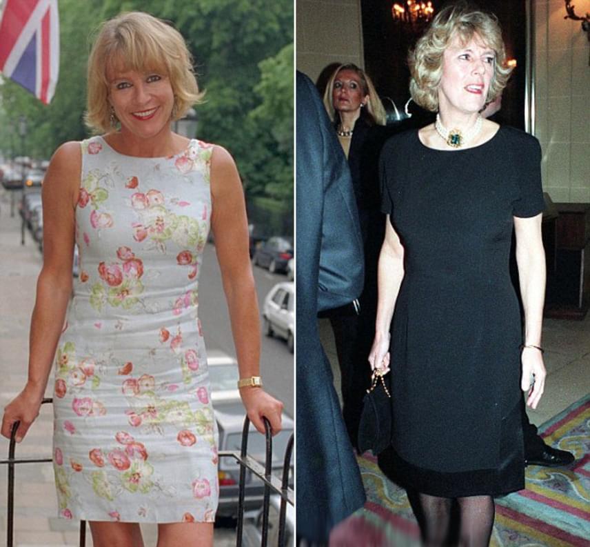 Károly herceget hírbe hozták Sue Townsenddel is - a bal oldalon -, akivel állítólag 1996-ban jött össze, néhány hónappal azelőtt, hogy Dianától elvált volna. A pletykák szerint a sikeres vállalkozóként dolgozó szőke hölgy leendő második feleségére, Camillára emlékeztette - a jobb oldalon -, ám sokkal szebb, fiatalabb és kedvesebb volt nála. Károly herceg annyira bolondult Sue Townsendért, hogy gyakran kocsikáztak együtt Aston Martinjában, sőt, még a vakációra is elkísérte. Sue Townsend nem tagadta, de nem is erősítette meg egykori románcuk hírét.