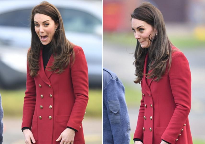 A hercegné láthatóan szörnyen izgult a felszállás előtt, szokásos vicces arckifejezésével jelezte, hogy mégsem biztos, hogy jó ötlet a repülés.
