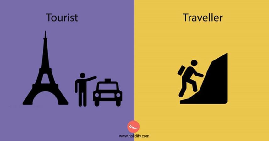 Míg egy utazó önerejéből hódítja meg az ismeretlen helyeket, az, aki a könnyebb és kényelmesebb utat választja, csak egy turista? Persze van valóságtartalma a képeknek, de a kontraszt túl fekete-fehér, hiszen számos szempont befolyásolhatja, ki hogy jut el a számára kedves és fontos helyekre, legyen szó időről vagy akár az életkorról, az egészségi állapotról.