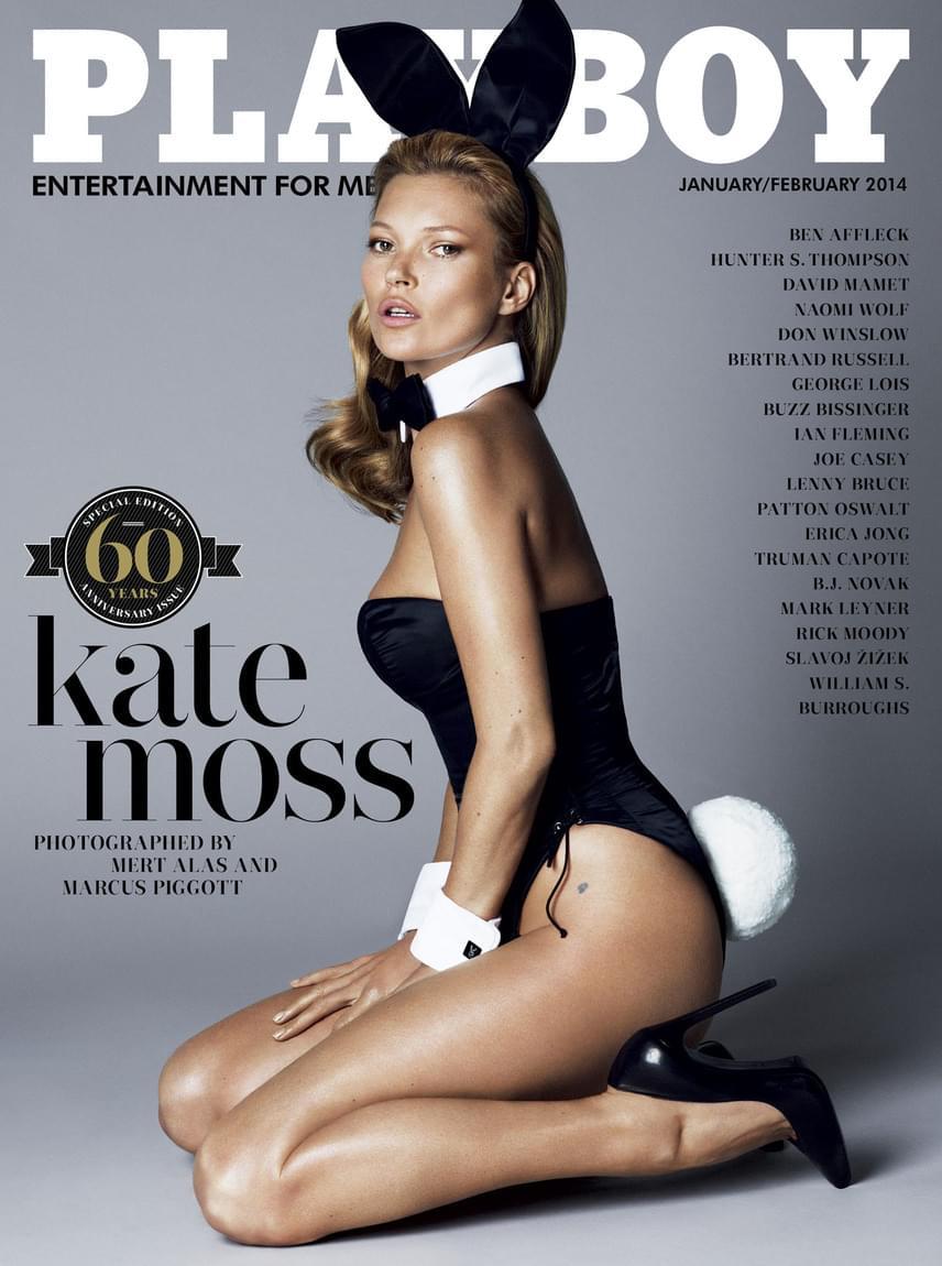 A Playboy 2014 január-februári számával ünnepelte a magazin 60. születésnapját, modellnek pedig Kate Mosst kérték fel, aki örömmel öltötte magára a világhírű nyuszis szerelést.