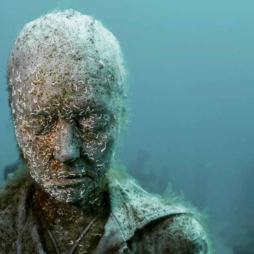 A szobrok hihetetlenül részletesek, amikor a vízbe merítik őket, ám a tenger hamarosan elkezdi faragni őket, sőt, rajtuk megtelepedő élőlények is alakítanak rajtuk, így az arcvonások, a ruhák gyűrődései egyre jobban összemosódnak a természetes környezettel. Ez a folyamat elgondolkodtató szimbolikával emlékeztet arra, hogy az emberiség valójában milyen törékeny, mulandó, és arra, hogy a természet könnyen képes visszahódítani azt, ami az övé.