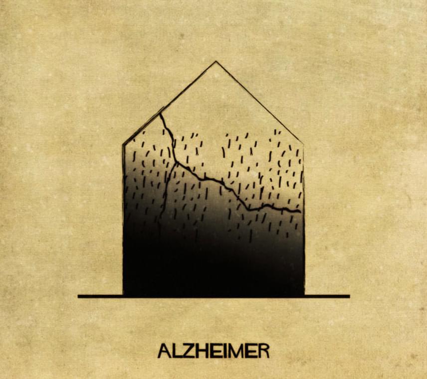 Az Alzheimer-kór, azaz a szellemi képességek, megismerési- és kognitív funkciók fokozatos romlása a művész szerint ilyen lenne, ha ház lenne.
