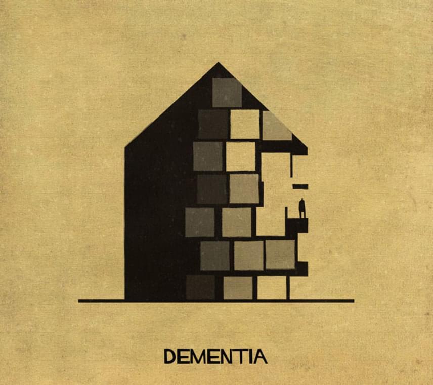 A demenciát, azaz az idős korban kialakuló szellemi hanyatlást így ábrázolta rajzán a művész.