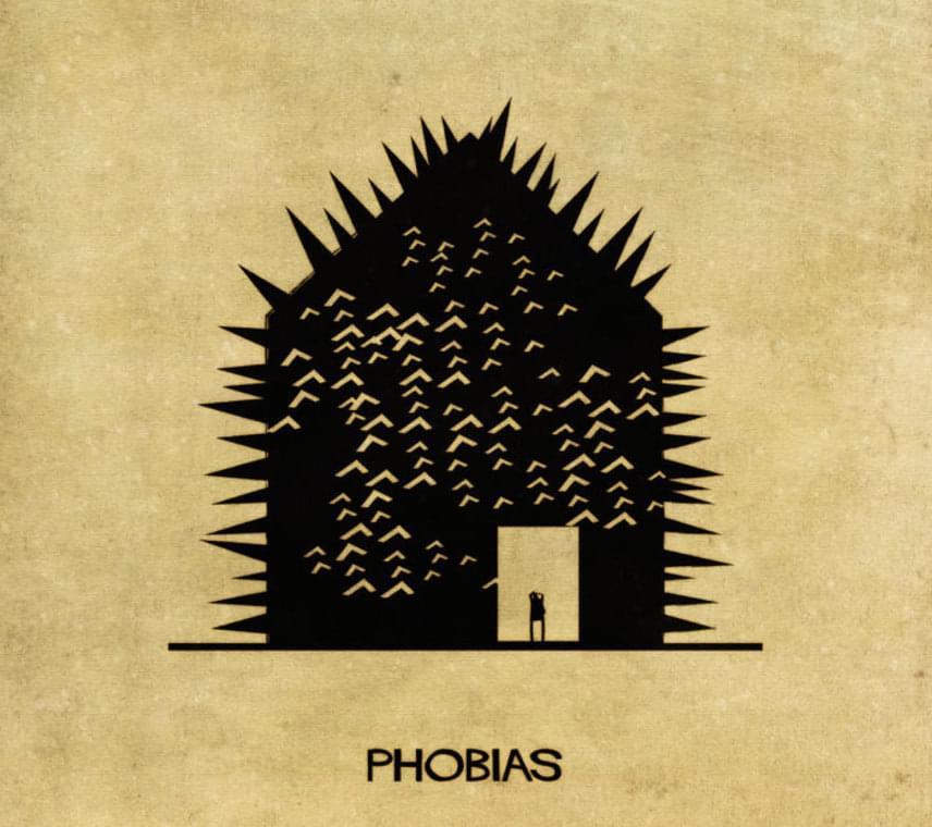 A különféle dolgoktól való elviselhetetlen rettegést, a fóbiát a házra rajzolt tüskék érzékletesen szemléletetik.