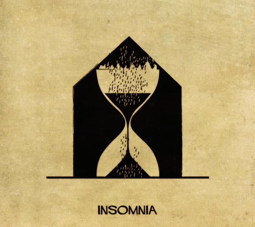 Az insomniát, azaz a kóros álmatlanságot így alkotta meg rajzban Federico Babina.