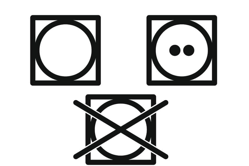 A négyzet a szárítást jelöli, ha egy kör is található benne, akkor a dobban való szárításra utal. Ezt a jelet sokan félreértik: mivel nagyon hasonlít egy mosógépre, sokan a mosásra utaló jelzést látják benne. Ha a körös négyzet át van húzva, azt jelenti, hogy tilos dobban szárítani a textíliát, ha pedig pontok találhatóak benne, az azt jelzi, milyen hőmérsékleten szabad: az egy pont alacsony hőmérsékletet jelent - 50°C -, a kettő közepest - 70°C -, a három pedig magasat - 90°C. Ha a kör ki van töltve, nem szabad fűtést alkalmazni.