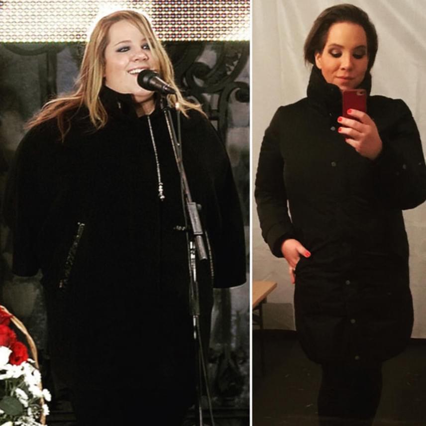 """""""7 éve 130 kilósan és most 45 kilóval könnyebben. Még -15 kg és meg leszek elégedve magammal"""" - írta a január elején posztolt montázs mellé."""