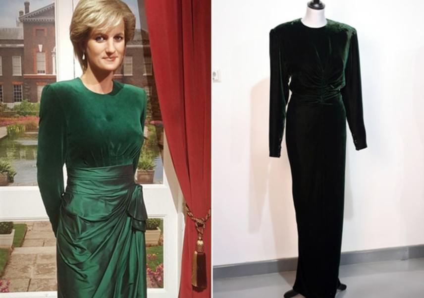 Ennek a méregzöld estélyinek különleges története van, ugyanis Vilmos vagy Harry herceg megölelte édesanyját a rendezvény előtt, a kis ujjak nyomát pedig 20 éve őrzi a bársonyruha. A kedves történet miatt még Diana viaszszobrát is hasonló ruhába öltöztették.
