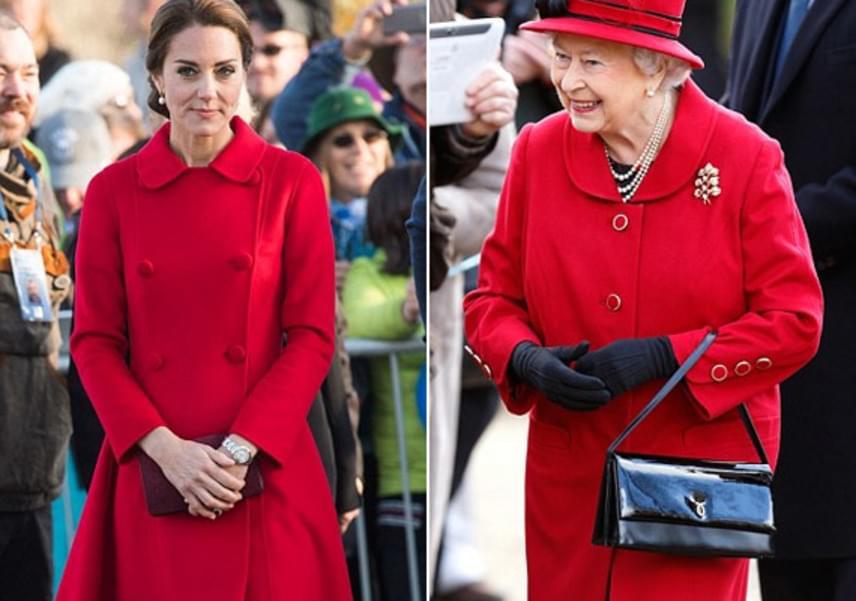 Erzsébet királynő él-hal a színes kabátkákért, így nem csoda, hogy Katalin tűzpiros darabja rögtön megtetszett neki.