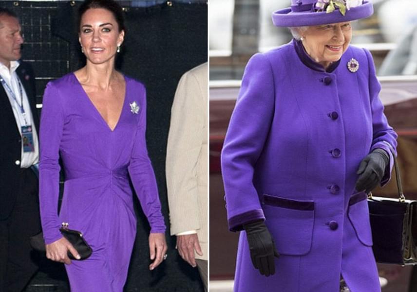 Olyan gyönyörű ez a lila színű ruha, hogy Erzsébet királynő sem maradhatott ki - egy ugyanolyan árnyalatú kabátot készíttetett.