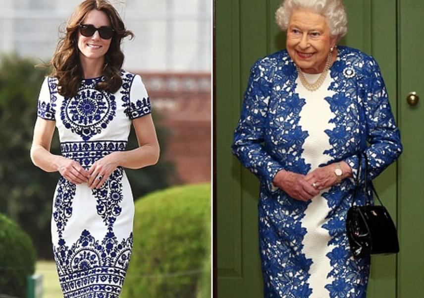 Erzsébet királynő legutóbbi csipkeruháját akár Katalin is viselhette volna - teljesen az ő stílusa a kék-fehér darab.
