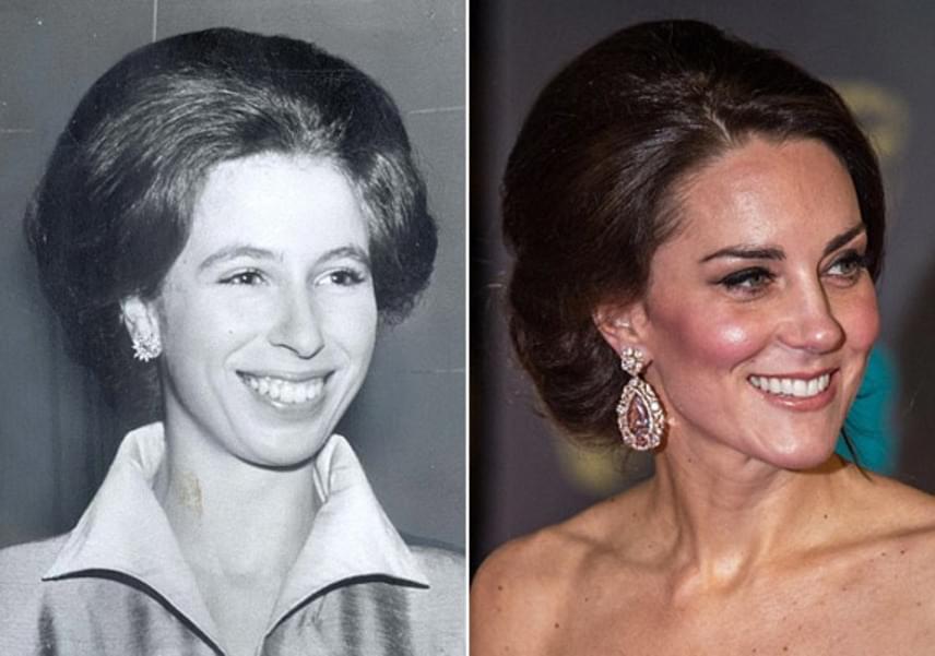 Anna hercegnő 1972-es kontya szinte hajszálpontosan megegyezik azzal a frizurával, amit Katalin hercegné a BAFTA-gálán viselt.