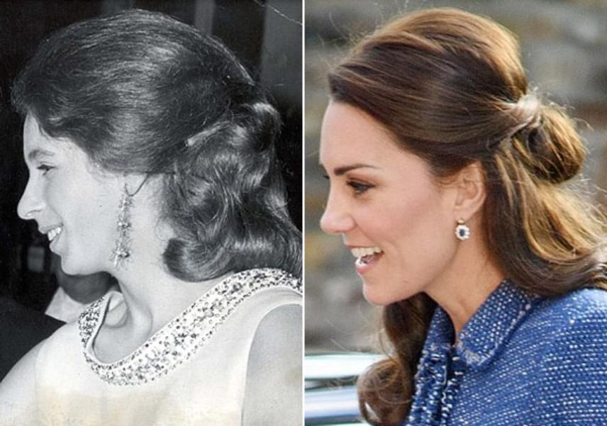 Kócos kis konty a két hercegnőn: Anna 1968-ban viselte ezt a hajstílust, mindenki kedvenc Kate-je pedig éppen tegnap.