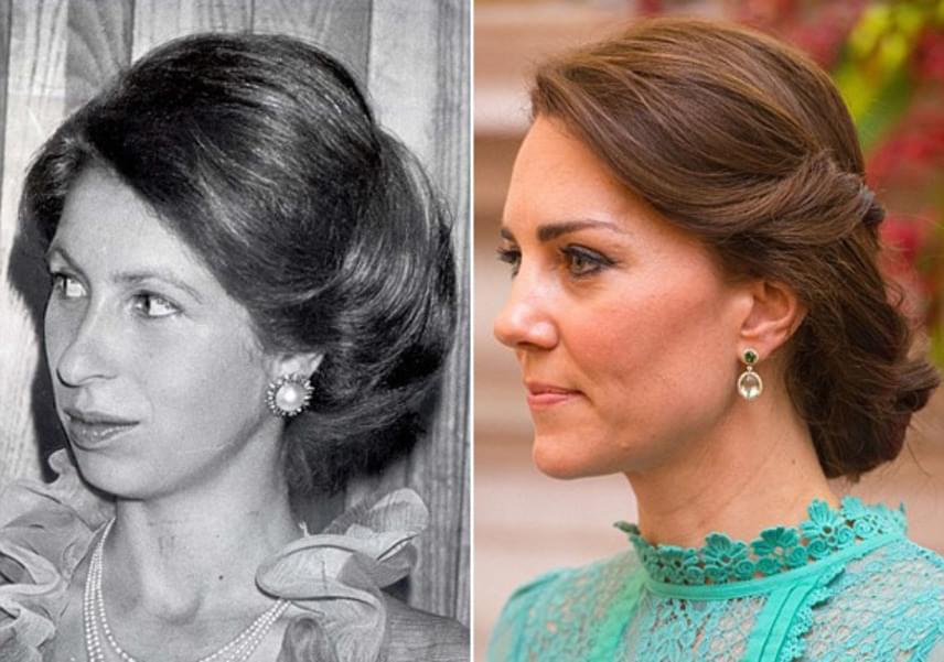 Egy kicsit modernizált verzióban, de Katalin hercegné feltűzött loknijai szinte teljesen megegyeznek Anna hercegnő 1977-ben viselt verziójával.