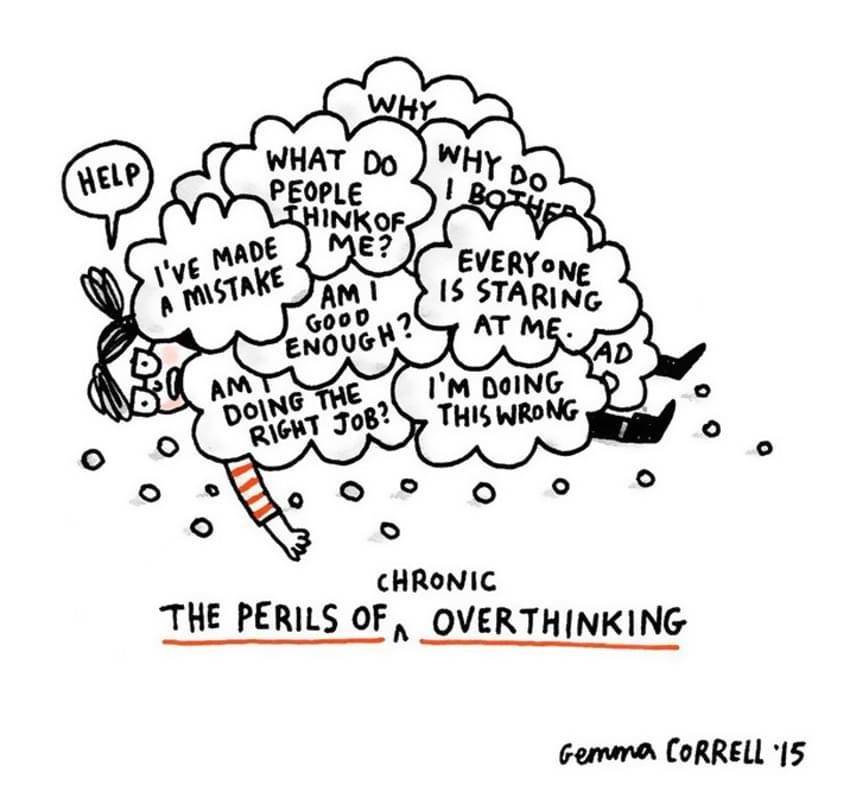 Hibáztam. Mit gondolnak rólam mások? Elég jó vagyok? Jó munkát végzek? Rosszul csinálom. Segítség!                          A szorongás egyik jellemző tünete a túlgondolás. Míg a mindennapi élet szituációi bárkiben okozhatnak feszültséget, egy bizonyos szinten és mértéken túl ez már nem feltétlenül normális. Generalizált szorongásos zavarról van például szó, ha a szorongás nem koncentrálódik egy adott helyzetre, hanem az illető szinte mindenre szorongással reagál. Ennek következtében olyan tünetek alakulhatnak ki, mint a nyugtalanság, a fáradékonyság, az ingerlékenység, az alvászavar.