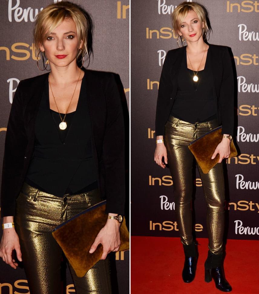Borbély AlexandraA Berlinalén Arany Medvét nyert Test és lélek színésznője a fekete ruhadarabokhoz egy figyelemfelkeltő, aranyszínű nadrágot húzott.