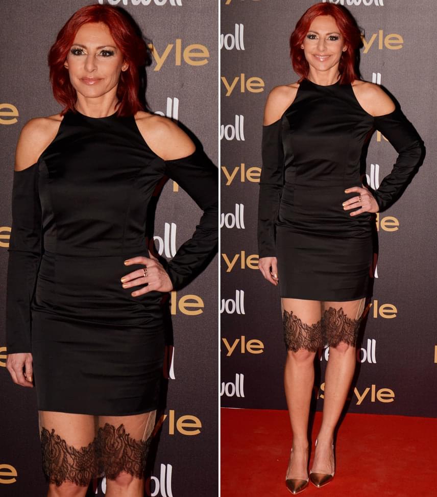 Erős Antónia  Az RTL Klub híradósa az idei évben nagyon divatos, vállán kivágott, alul csipkével díszített ruhában érkezett az InStyle-díjátadóra.
