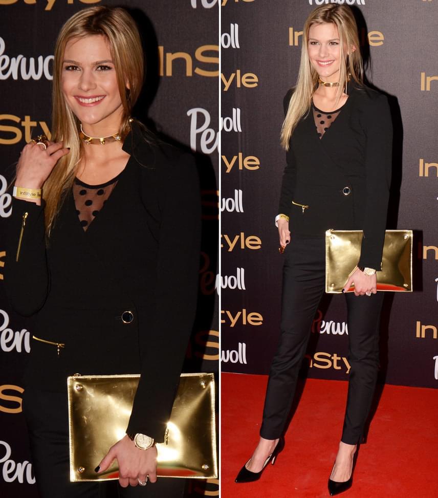 Weisz Fanni  A gyönyörű modell fekete nadrágkosztümöt húzott, hozzá arany kiegészítőket, többek között egy nagyméretű levéltáskát választott.