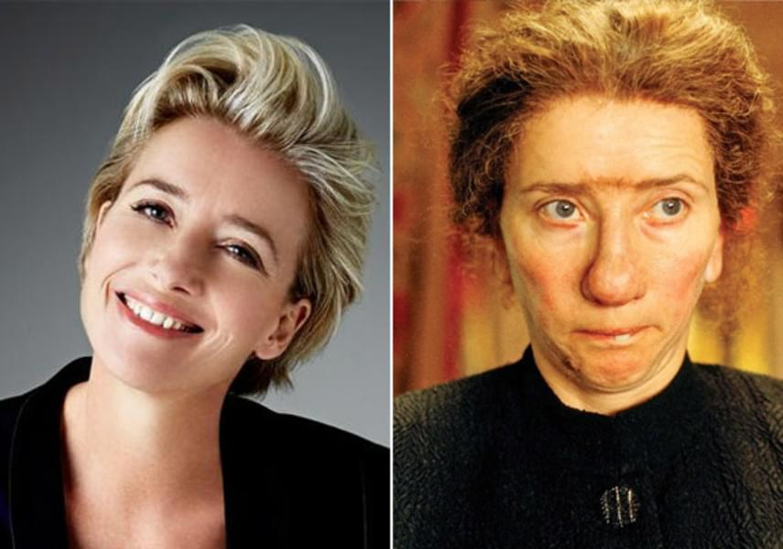 A csinos Emma Thompson is alaposan átalakult Nanny McPhee, a varázsdada című filmjében: bibircsókos orrot és összenőtt szemöldököt kapott.