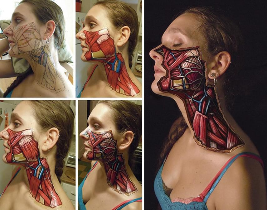 Quirk az alkotás folyamatáról is készített képeket, melyek bemutatják, mennyi munka felrajzolni az ábrákat a bőrre. Ismerd Danny Quirk még több munkáját a Facebookon!