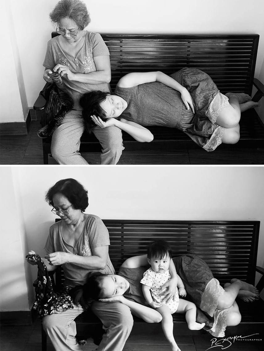 Ahogy a nagymama gondoskodik a lányáról, úgy adja tovább ő is a szeretetet a következő generációnak. Nézd meg P. Nguyen még több képét saját oldalán!