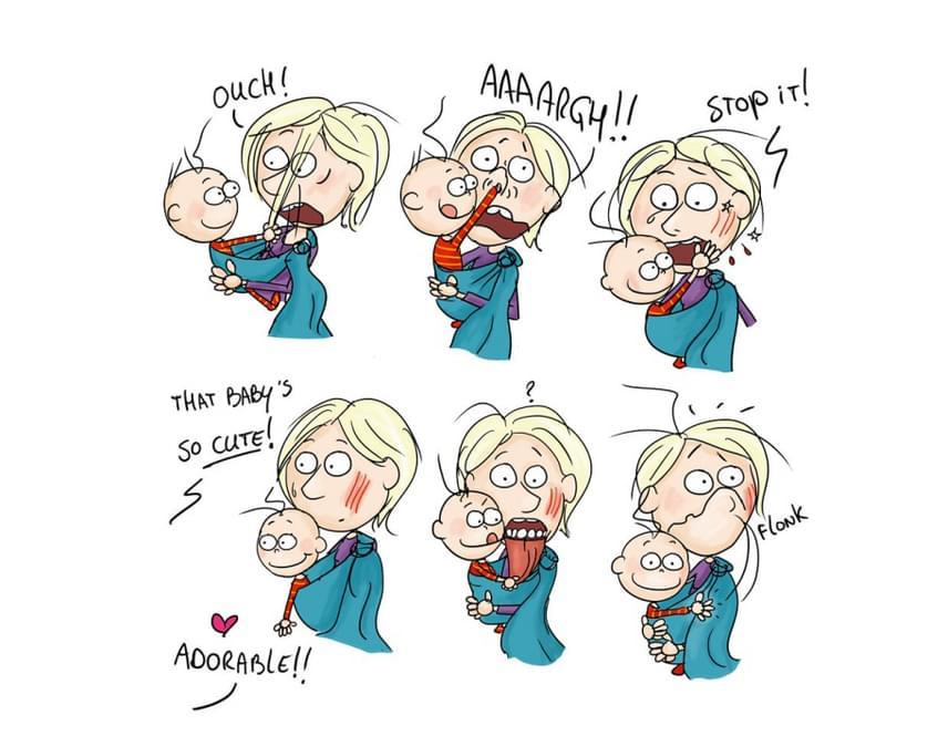 - Au! Ú! Hagyd abba!- De édes baba!