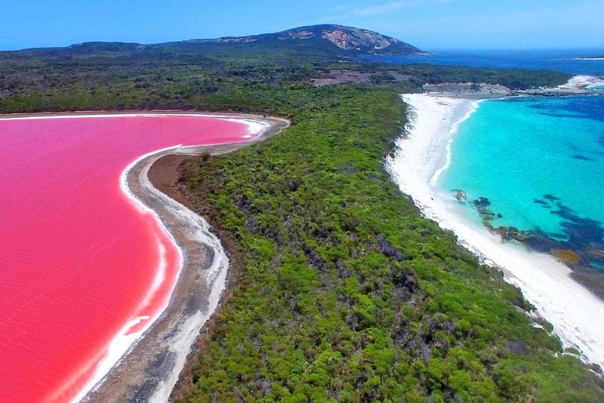 Az ausztrál Hillier-tó egyike azoknak a kevés, különleges színű vizeknek, amelyekben akár meg is mártózhatsz, így a turisták rajonganak a pinkben ragyogó tóért. A szigeten található tó magas sótartalmának hála salina baktériumok élnek nagy számban a vízben, melyek vörös pigmenttel nyelik el a napfényt, így megszínezik a vizet. A Hillier-tó színe a száraz évszakban a leglátványosabb, amikor a csökkenő vízszint koncentráltabbá teszi a pigmenteket.