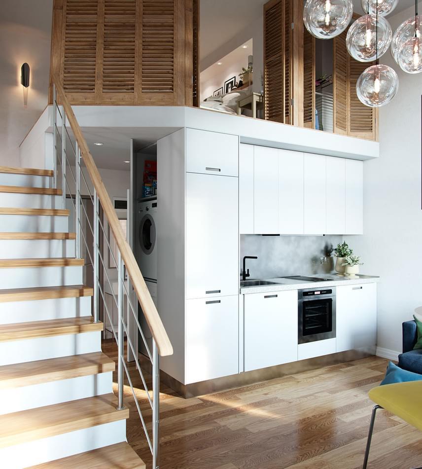 Különleges térelválasztó a spaletta, ha kell, meghitté és zárttá teszi a teret, ha pedig arra van szükség, kinyitva egybeolvasztja a lenti helyiségekkel. Érdemes megfigyelni a lakás többi részét is. A fürdő bújik meg a galéria alatt, és a konyha olvad egybe a szobával.
