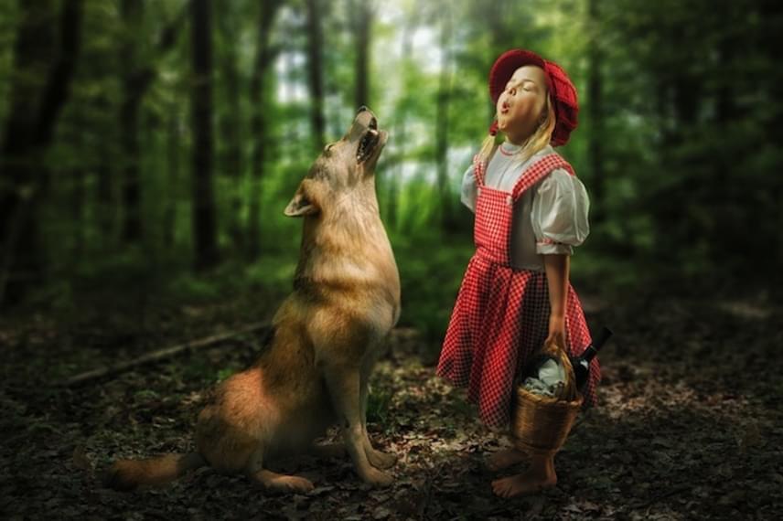 Piroska és a farkas története John Wilhelm sajátos értelmezésében, hiszen Piroska ezúttal együtt vonyít az állattal.