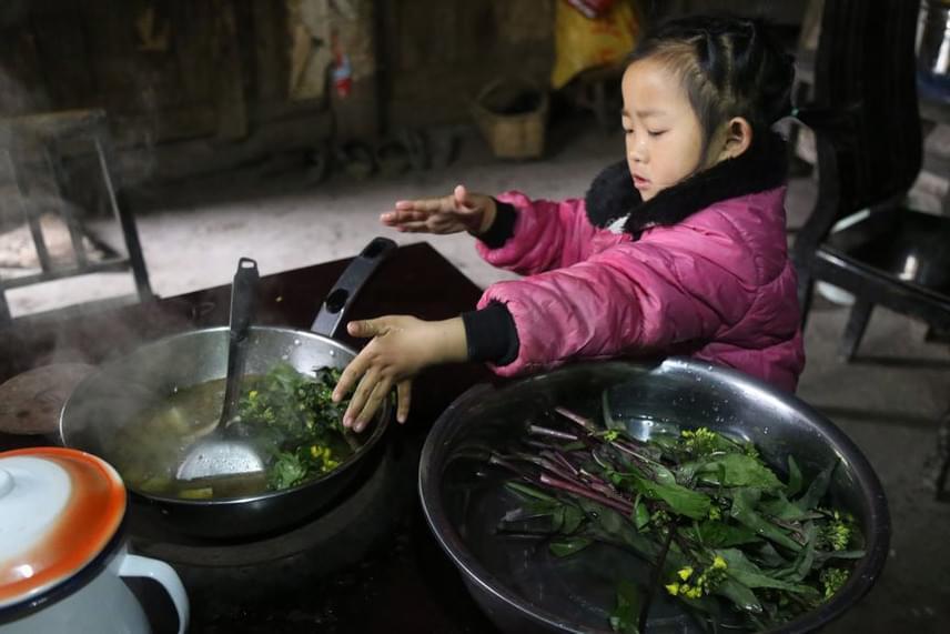 A kislány nemcsak összeszedi a zöldségeket, de ő maga főz belőlük, sőt, takarít, és szükség esetén járni is segít a két idős nőnek.