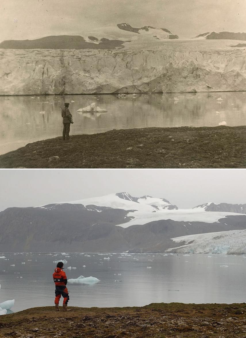 Fent láthatod a száz évvel ezelőtti, lent pedig a jelenlegi állapotokat. Komplett jéghegyek olvadtak el azóta.