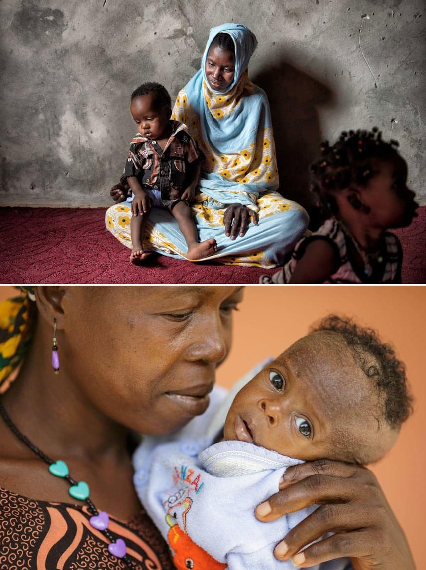 Fent: MauritániaMoumuda kislánya alultáplált volt, de szerencsére megfelelő segítséget kaptak ennek orvoslására.Lent: Sierra LeoneFanta és fia, Makeni.