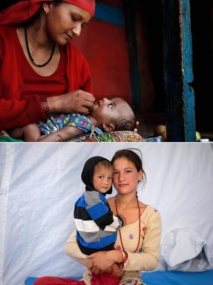 NepálFent:Sharmila kíváncsian fürkésző kislányával.Lent:Bimilát és fiát, Krist egy charikoti kórházban fotózták le.